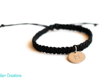 Custom Initial Bracelet, Fully Personalized, Hand Stamped Stainless Steel, Black Hemp Jewelry, Valentines Day Gift