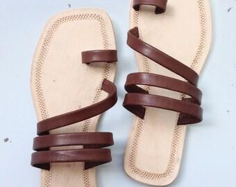Dark brown handmade Indian sandal for woman