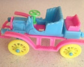 "1968 KIDDLES N KARS - Mattel Liddle Kiddle Doll Car - Rosemary Roadster's Vehicle 3642, 3"" Hard Plastic Aqua Blue, Pink & Yellow Toy Car"