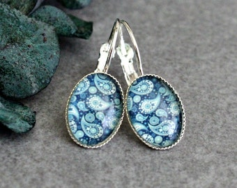 Blue Drop Earrings, Blue Earrings, Blue Paisley Earring, Blue Drop Earring, Blue Dangle Earring, Blue Lever Back Earring, Blue Glass Earring