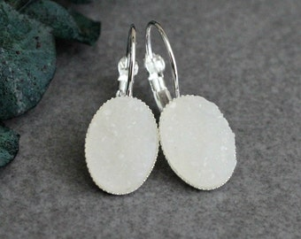 White Drop Earring, White Earrings, White Druzy Earrings, White Chandelier Earrings, White Lever Back Earring, White Dangle Earrings