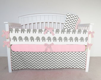 FREE SHIPPING - 4 Piece Crib Set - Chevron and elephant crib set