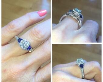 Moissanite Engagement Ring .26ct Diamonds 1ct Round Forever One Moissanite Natural Sapphires 18k Gold Deco Ring Pristine Custom Rings
