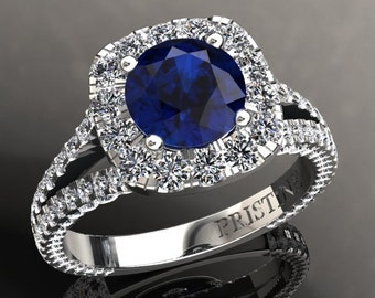 18k White Gold Diamond Engagement Ring 6.5mm Round Brilliant Sapphire and 1.70ct Round Natural Diamonds Pristine Custom