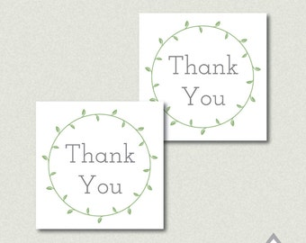 Thank you Wedding Favor Tags, Laurel Thank you, nature wedding, rustic wedding, DIY Wedding Favors, printable stickers, wedding sticker