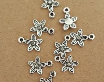 50pcs 11x14mm Antique Silver Flower Charm ,Antique Silver floret Pendant ABPA020