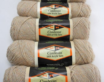 Contessa Worsted Weight Acrylic Yarn - 5 Skeins - Color Beige H8 - M.H. Yarn Co