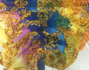 Royal blue tie dyed gold flowers chiffon fabric- super soft chiffon print- by the yard...