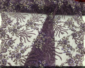 Purple/ multicolor  dazzling design embroider and beaddd on a mesh lace-prom-nightgown-decorations-dresses-sold by the yard.