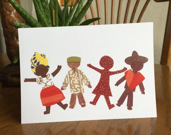 Children Card, Children of the World, Kids Card, cut paper art, world community, ethnic card, cultural card