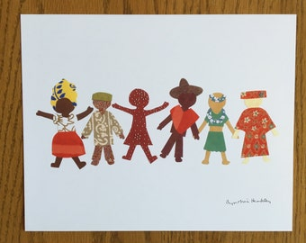 Children of the World, Children Art Print, 8x10 kids print, school kids, kids print, cut paper art, ethnic print, cultural print