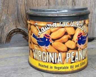 Vintage Laura Scudders Virginia Peanuts Tin Can