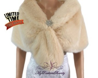 Faux Fur Stole, Champagne Faux Fur Wrap, Bridal Fur Stole, Fur Shawl,Wedding Stole, Bridal Wrap, Bridal Fur Shrug FS108-CPN