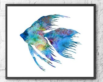 Blue Fish Print, Bathroom Decor, Bathroom Wall Art, Fish Art, Sea Life