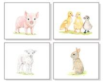 Farm Nursery Art Farm Animal Print Baby Girl Nursery Decor Baby Animal Watercolor Girl Room Art White Lamb Pink Pig Bunny Yellow Ducks 4 Set