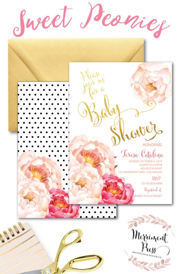 Peony Baby Shower Invitation // Peonies // Watercolor // Pink ...