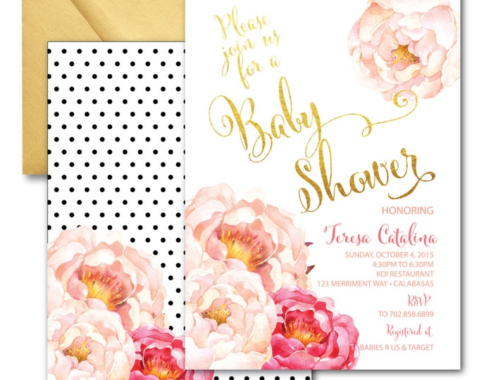 Peony Baby Shower Invitation // Peonies // Watercolor // Pink // Gold // Polka Dots // Calligraphy // Faux Foil // CALABASAS COLLECTION