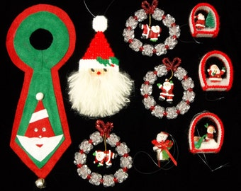 The Santa Group: 9 very different Christmas ornaments and decorations featuring Santa Claus in beads, plastic canvas, felt and more