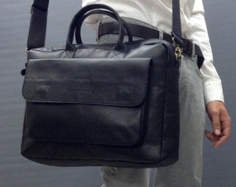 Sale!!! Black leather briefcase Men's leather macbook bag 15 messenger bag leather laptop bag