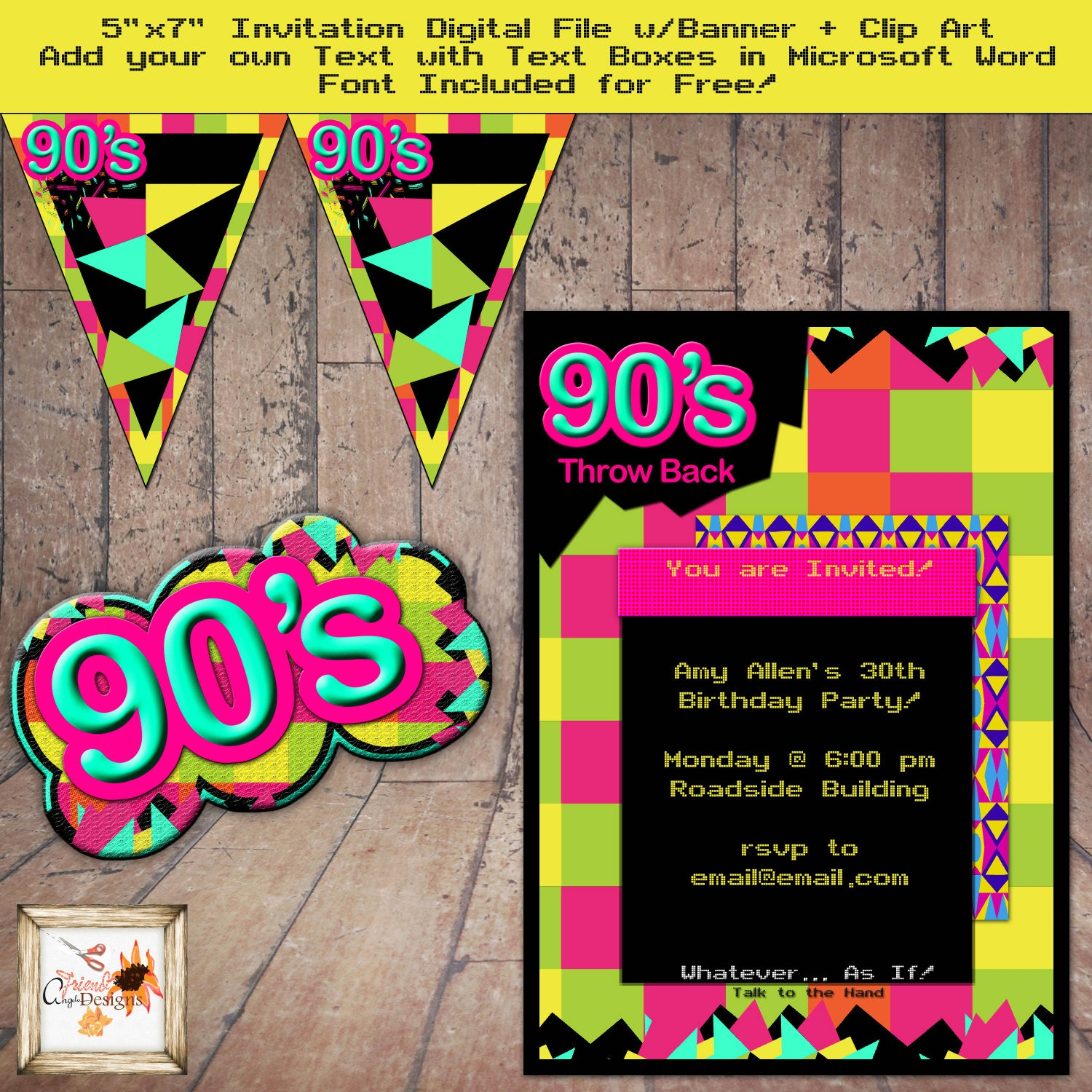 90 39 s theme party throwback 5 x 7 invitation for 90 s party decoration ideas