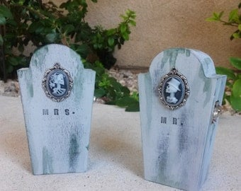 Mr. and Mrs. Tombstone trinket / jewelry boxes (set of 2)
