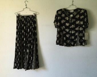 Vintage 2pc Set Skirt Blouse