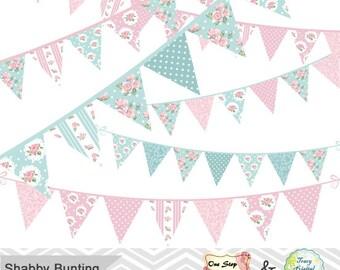 Digital Bunting Banner Clip Art Shabby Chic Bunting Banner Clipart Pink and Blue Banner Clipart Baby Pink Banner Baby Blue Banner 0332