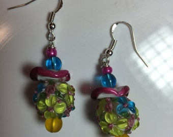 Pink, Blue and Yellow Floral Raised  Lampwork Earrings on sterling earwires.