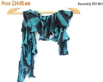 Turquoise lace scarf, ruffle scarf, necklace scarf, winter accessories, women scarf, Blue Lace, Navy Blue Lace, unique scarves