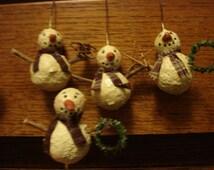 Handmade Primitive Snowmen Set of 4 Ornaments Paper Clay, Mica Flakes, Homespun
