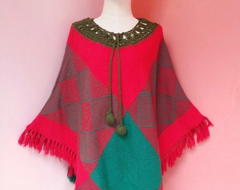 Vintage 70s Green and Red Knit Poncho