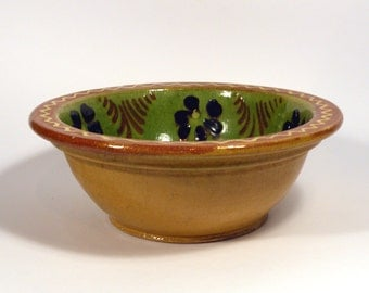 French vintage glazed stoneware dish, glazed pottery, cottage chic, country home, green and brown glazed dish, rustic terracotta dish