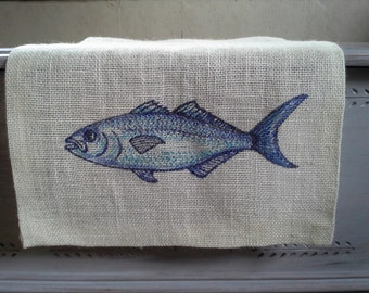 "Nautical burlap table runner featuring a Blue fish, ivory color burlap, hemmed edges, 52""x15"", coastal kitchen or dining room decor,rustic"
