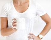 SET OF 2 Coffee Mug Styled Stock Images | Coffee Mug Designs | White Mug and White Shirt | Product Photography | Digital Image