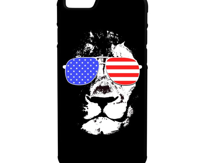 Lion Face American Flag iPhone Galaxy Note LG HTC Hybrid Rubber Protective Case