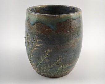 Ceramic Blue Green and Brown Coral Cup