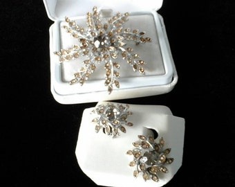 Vintage Sarah Coventry brooch and clip-on earring set
