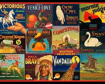 Cowboy Decor, Wild West, Cowgirl Decor, Western Decor, Vintage Crate Labels, Vintage Cowgirl, Vintage Cowboy, Vintage Western, Crate Labels