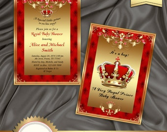 Printable Royal Baby Shower Invitation, Regal Red Gold Card, Boy Or Girl,  Crown