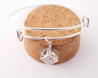 Love and Hearts Cube bangle bracelet