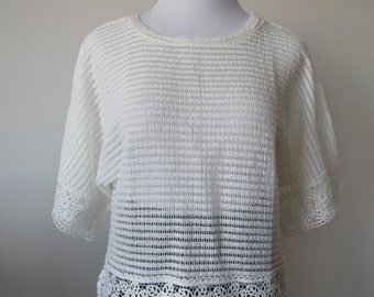 Crochet Lace Poncho Blouse Top with  Lace Rim  One Size White Color