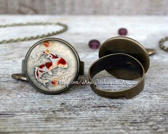 Koi fish ring Japanese carp adjustable ring Asian Art Jewelry bronze glass birthday gift handmade br58