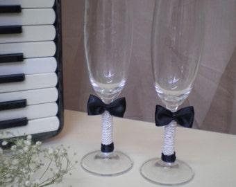 Gay Wedding Toasting Glasses-Mr & Mr toasting glasses-black and white toasting glasses