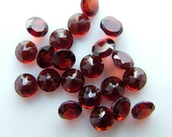 25 Pieces Lot Natural Red Garnet Round Faceted Cut Gemstone