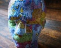 mens model head, mens wig holder, men display head, handmade mosaic mens head, mens hat display, hat display for men, display for knit items