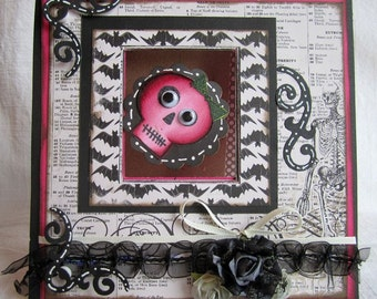 Pink swirling skeleton card