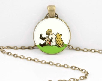 Winnie the Pooh and Christopher Robin Pendant Necklace or Key Ring