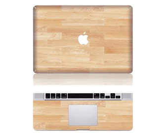 "Macbook Maple Wood Front & Wrist Sticker Vinyl Decal Cover For Macbook Pro 13"" Comes with free keyboard cover and gift"