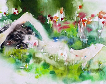 GIRL in THE MEADOW  - original watercolor painting - one of a kind!