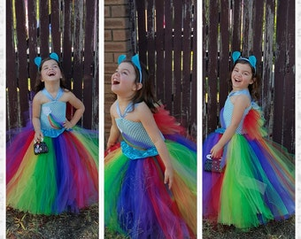 Inspired Handmade Tutu Dress Rainbow dash costume - Rainbow Birthday party, Tea party, size nb to 12years